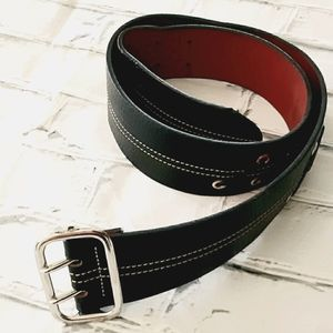 TOMMY HILFIGER BLACK LEATHER BELT WITH LACING SM